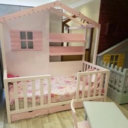 Montessori-Çatılı-Çekmeceli-Yatak