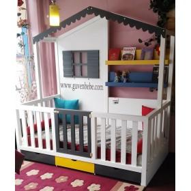 Montessori-Çatılı-Çekmeceli-kapılı-Yatak