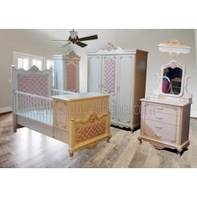 Saraylı Oymalı Full Kapitoneli bebek odası